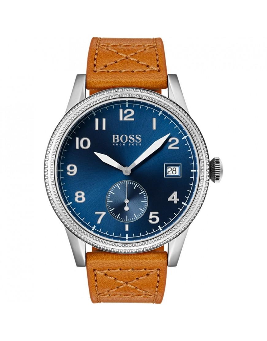 1513668 - HB Legacy Blue Dial  Stl/Brown Lth Stp