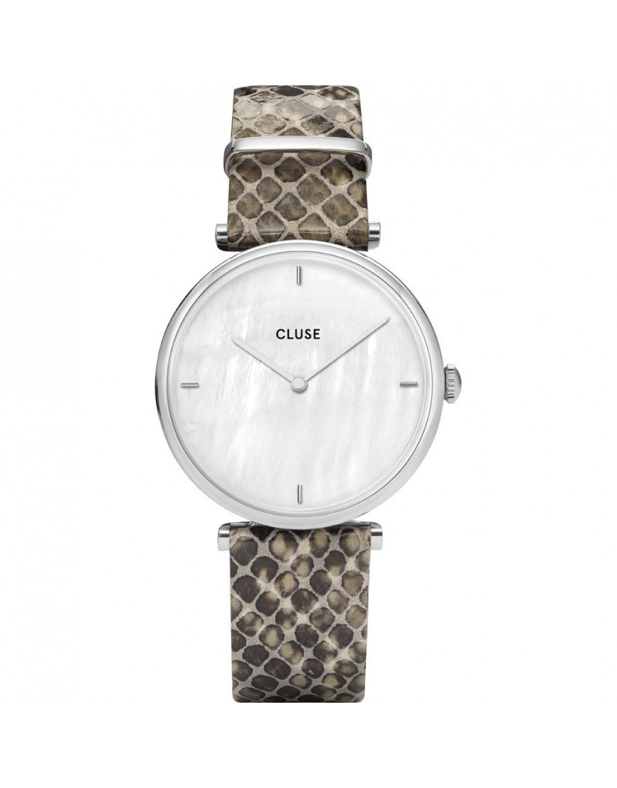 CL61009 - CLUSE Triomphe Silver Wht Pearl/Python